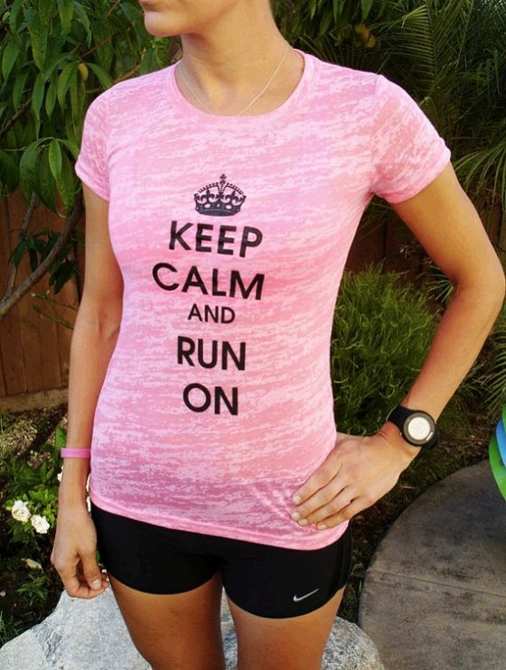 keep calm and run on neon pink tee-f63737